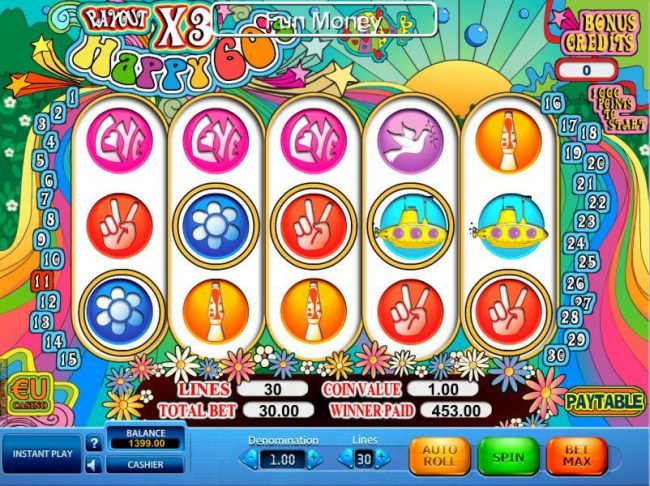 Win 7 featuring the Video Slots Happy 60's with a maximum payout of $40,000