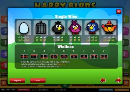 Dreamy 7 featuring the Video Slots Happy Birds with a maximum payout of $1,000