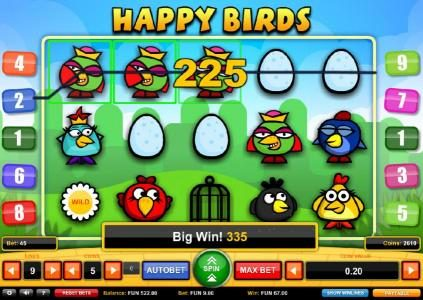 emu Casino featuring the Video Slots Happy Birds with a maximum payout of $1,000
