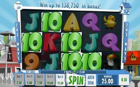 NetBet featuring the Video Slots Happy Birds with a maximum payout of $138,750