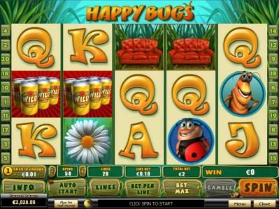 Happy Bugs :: Main game board featuring five reels and 20 paylines with a $50,000 max payout