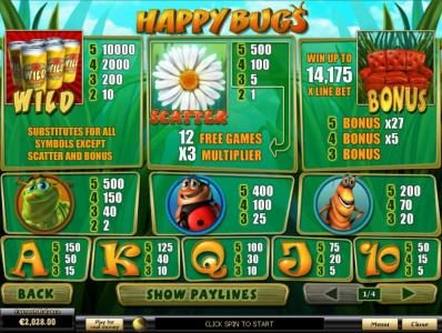 Happy Bugs :: Slot game symbols paytable