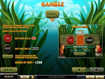 Happy Bugs :: Gamble Feature Games Rules