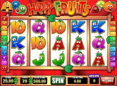 Happy Fruits :: main game board featuring five reels and twenty paylines