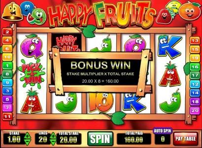 Happy Fruits :: pick-a-win feature pays out a $160 jackpot