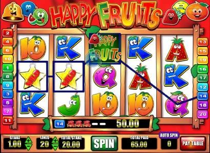 Happy Fruits :: multiple winning paylines triggers a $65 payout