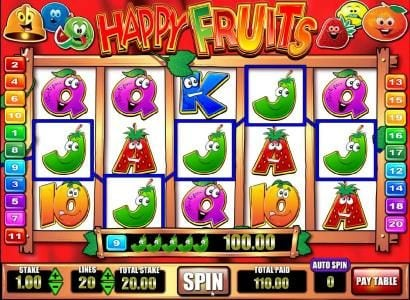 Happy Fruits :: five of a kind leads to a $100 big win
