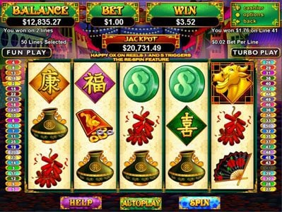 Casino Extreme featuring the Video Slots Happy Golden Ox of Happieness with a maximum payout of Jackpot