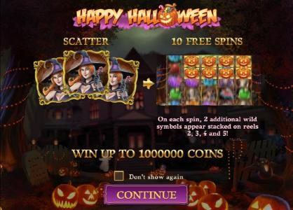 Omnia featuring the Video Slots Happy Halloween with a maximum payout of $2,000,000