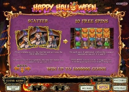 7 Gods Casino featuring the Video Slots Happy Halloween with a maximum payout of $2,000,000