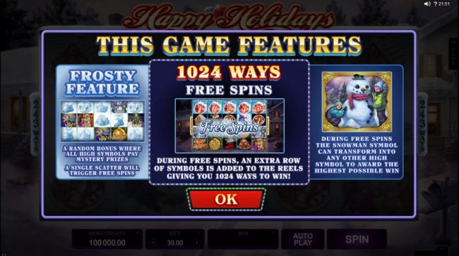 Monaco Aces featuring the Video Slots Happy Holidays with a maximum payout of $88,000