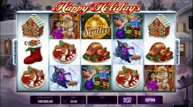 Happy Holidays :: Main game board featuring five reels and 243 and 1024 winning combinations with a $88,000 max payout