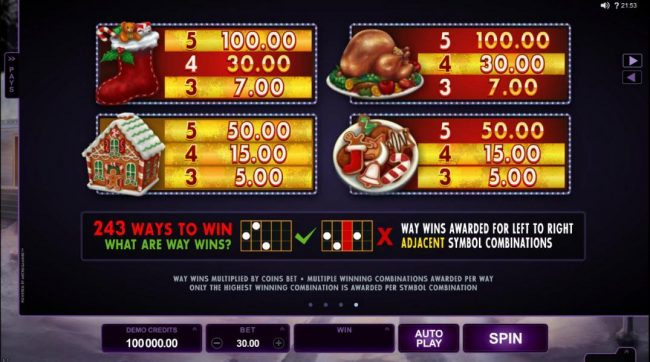 Piggs featuring the Video Slots Happy Holidays with a maximum payout of $88,000