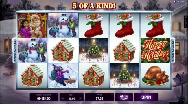 Maxino featuring the Video Slots Happy Holidays with a maximum payout of $88,000