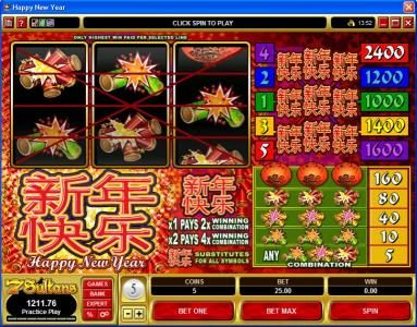 Play slots at River Belle: River Belle featuring the Video Slots Happy New Year with a maximum payout of $600,000