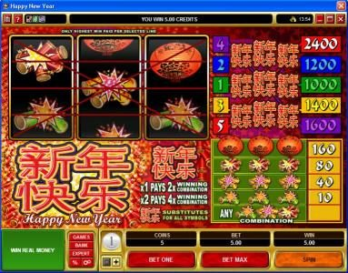 Wixstars featuring the Video Slots Happy New Year with a maximum payout of $600,000