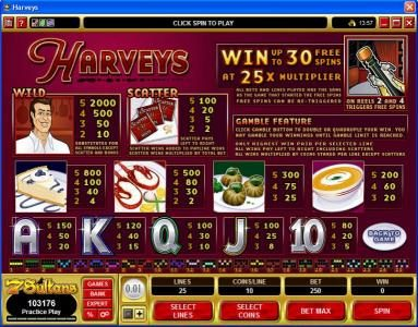 Crystal featuring the Video Slots Harveys with a maximum payout of $10,000