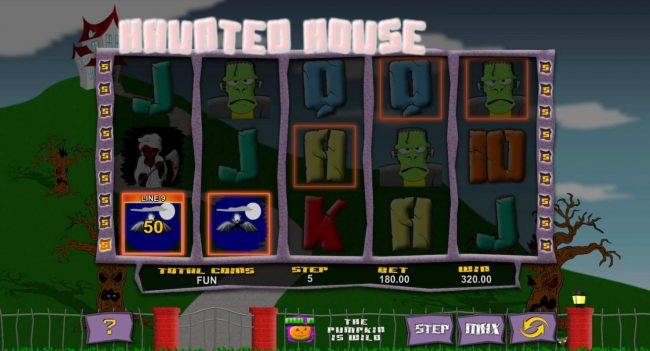 Haunted House :: Multiple winning paylines triggers a 320 payout