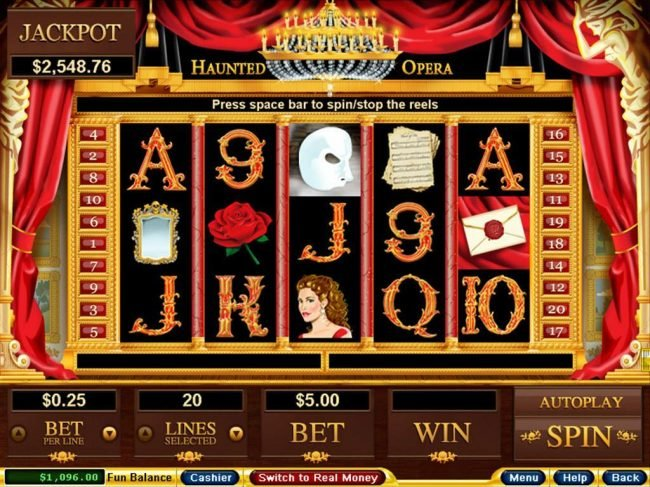 An opera themed main game board featuring five reels and 20 paylines with a $250,000 max payout