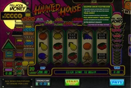 Mr Green featuring the Video Slots Haunted House with a maximum payout of $100,000