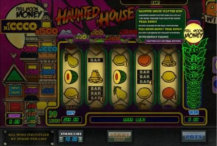 Next Casino featuring the Video Slots Haunted House with a maximum payout of $100,000