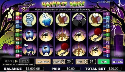 Play slots at Lucky Me Slots: Lucky Me Slots featuring the video-Slots Haunted House with a maximum payout of 1,800x
