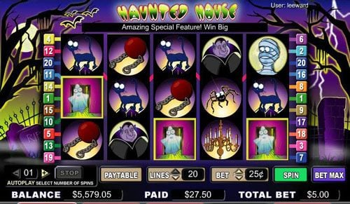 Zinger Spins featuring the video-Slots Haunted House with a maximum payout of 1,800x