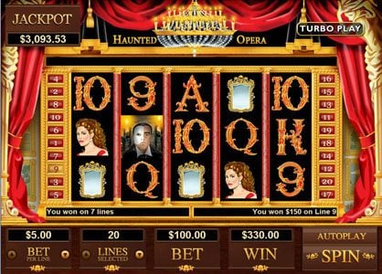 Play slots at Club UK: Club UK featuring the Video Slots Haunted Opera with a maximum payout of $250,000