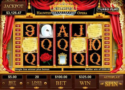 Captain Jacks featuring the Video Slots Haunted Opera with a maximum payout of $250,000