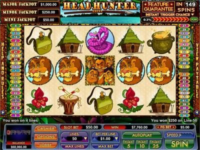 BuzzLuck featuring the Video Slots Head Hunter with a maximum payout of $7,500