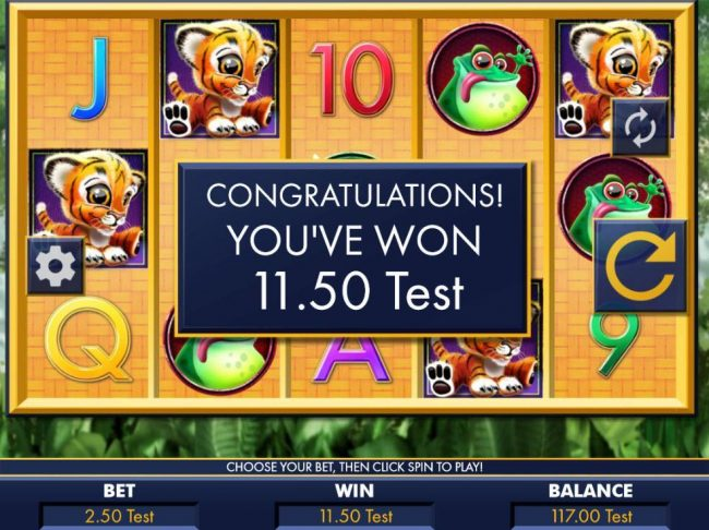 Euro Slots featuring the Video Slots Hear Me Roar! with a maximum payout of $2,000