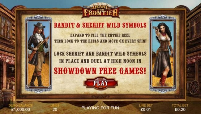 Bandit and Sheriff Wild Symbols expand to fill the entire reel, then lock to the reels and move on every spin!