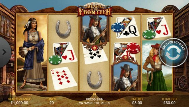 A wild west themed main game board featuring five reels and 20 paylines with a $1,500 max payout