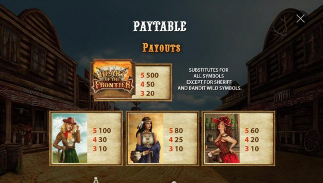 High value slot game symbols paytable featuring woman of the wild west inspired icons.