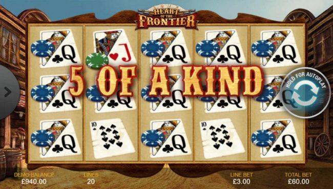 Vegas Winner featuring the Video Slots Heart of the Frontier with a maximum payout of $1,500