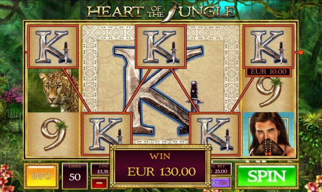 Vegas Winner featuring the Video Slots Heart of the Jungle with a maximum payout of $10,000
