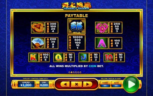 Heavenly Phoenix :: Paytable