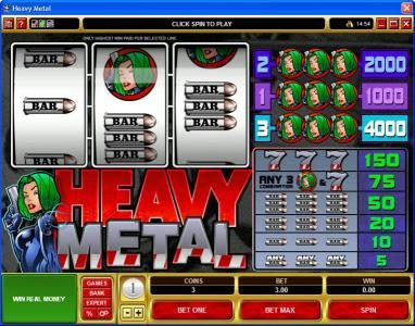 Lucky Nugget featuring the Video Slots Heavy Metal with a maximum payout of $20,000