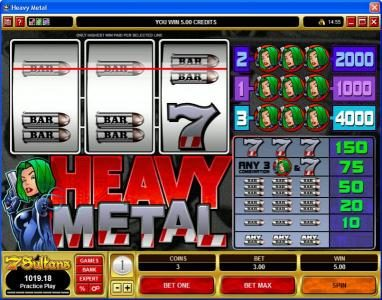 Jetbull featuring the Video Slots Heavy Metal with a maximum payout of $20,000