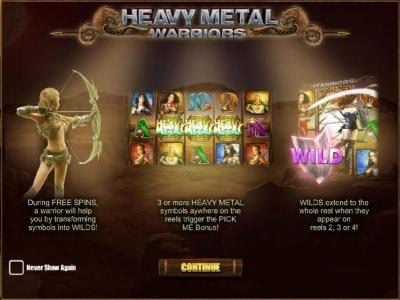 Malina featuring the Video Slots Heavy Metal Warriors with a maximum payout of $62,500