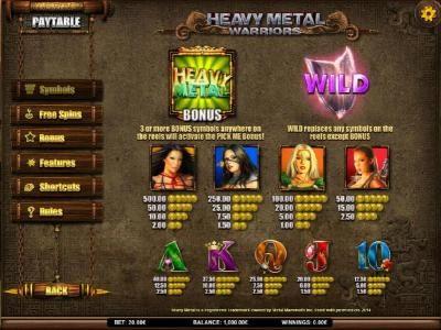 Play slots at Dasistcasino: Dasistcasino featuring the Video Slots Heavy Metal Warriors with a maximum payout of $62,500