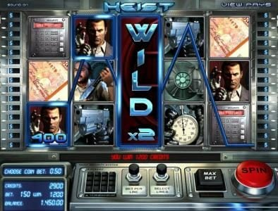 Heist :: here is an example of a 2x wild reel triggering a 1200 credit big win jackpot