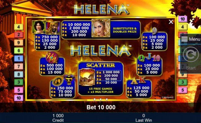 Slot game symbols paytable featuring icons fashioned upon Greek mythology.