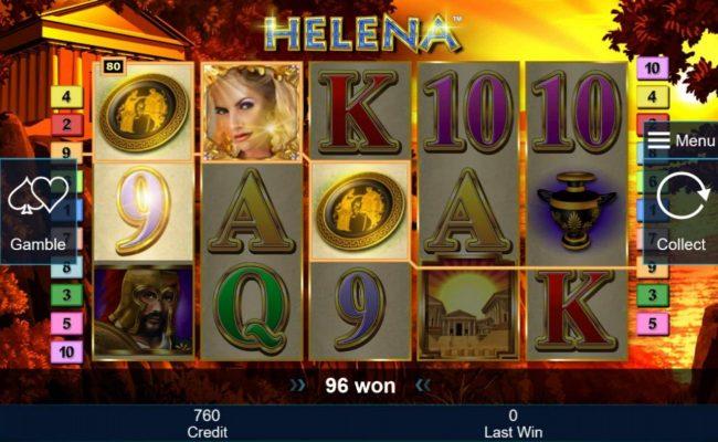 Helena wild symbol triggers a pair of winning paylines.