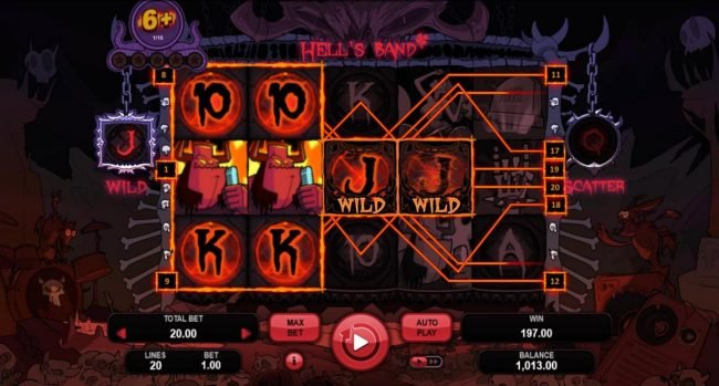 Casino Dingo featuring the Video Slots Hell's Band with a maximum payout of $5,000