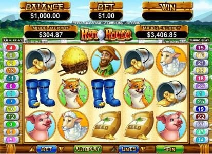 Play slots at Ignition: Ignition featuring the Video Slots Hen House with a maximum payout of $12,500