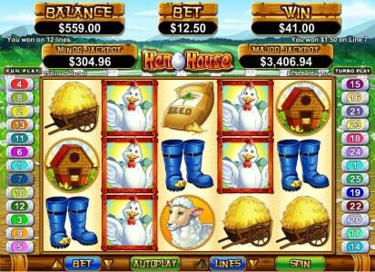 Slotnuts featuring the Video Slots Hen House with a maximum payout of $12,500