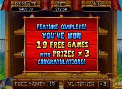free spins feature complete. 19 free games with prizes x3