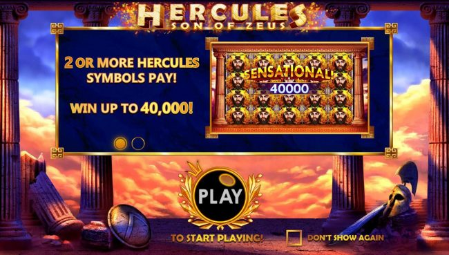 Hercules Son of Zeus :: 2 or more Hercules symbols pay! Win up to 40,000!