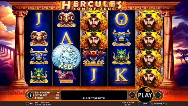 Hercules Son of Zeus :: A Greek mythological themed main game board featuring five reels and 50 paylines with a $200,000 max payout